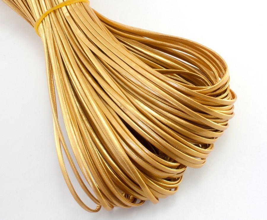 (10 метров) Плоский глянцевый шнур  2 мм ширина, цена за моток, (экокожа)  Цвет - Золотистый