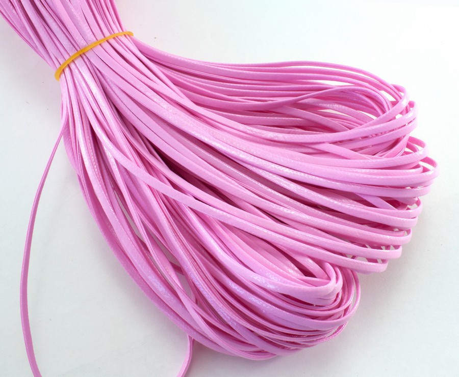 (10 метров) Плоский глянцевый шнур  2 мм ширина, цена за моток, (экокожа)  Цвет - Розовый
