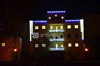 Световое оформление фасада, украшение фасадов зданий, иллюминация к новому году