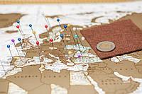 Скретч карта мира на англ языке в античном стиле, фото 1