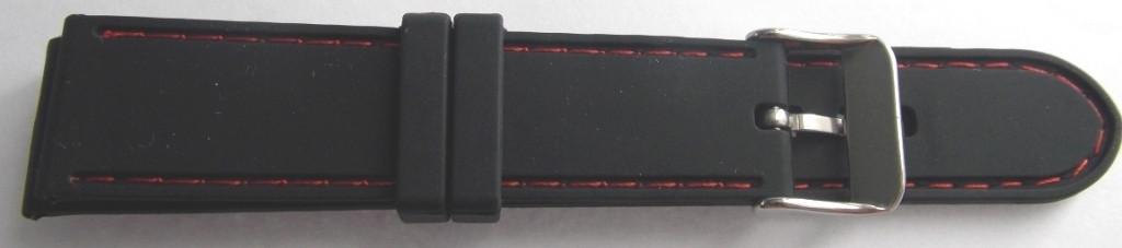 Ремешок каучук (Польша) 22 мм. черный красная строчка
