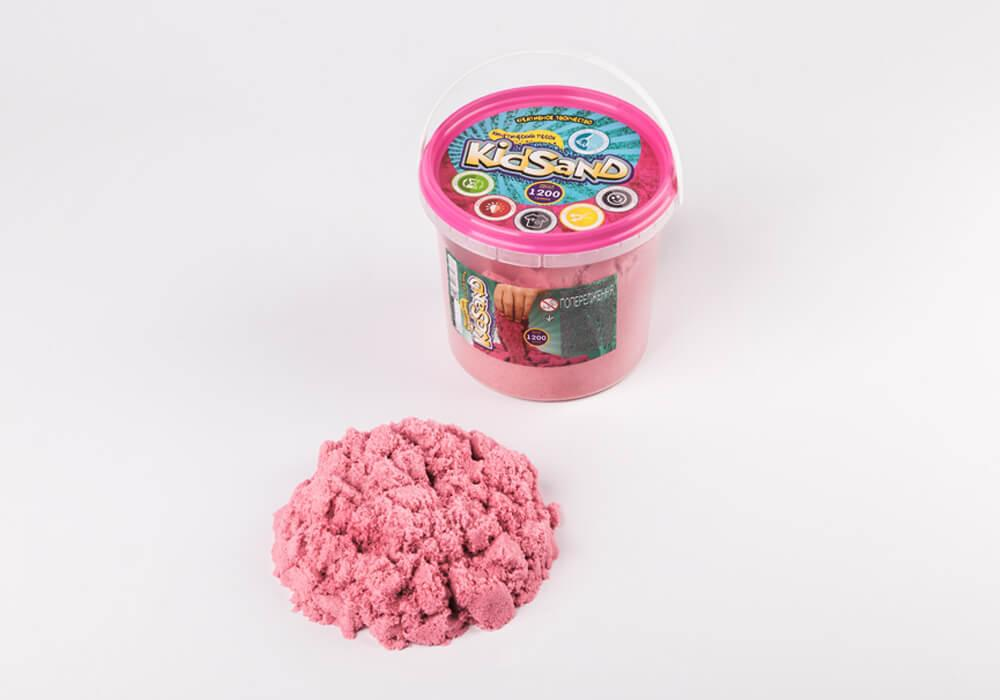 Набор для творчества Danko Toys Кинетический песок KidSand 1200г в ведре, цвет розовый (KS-01-04)