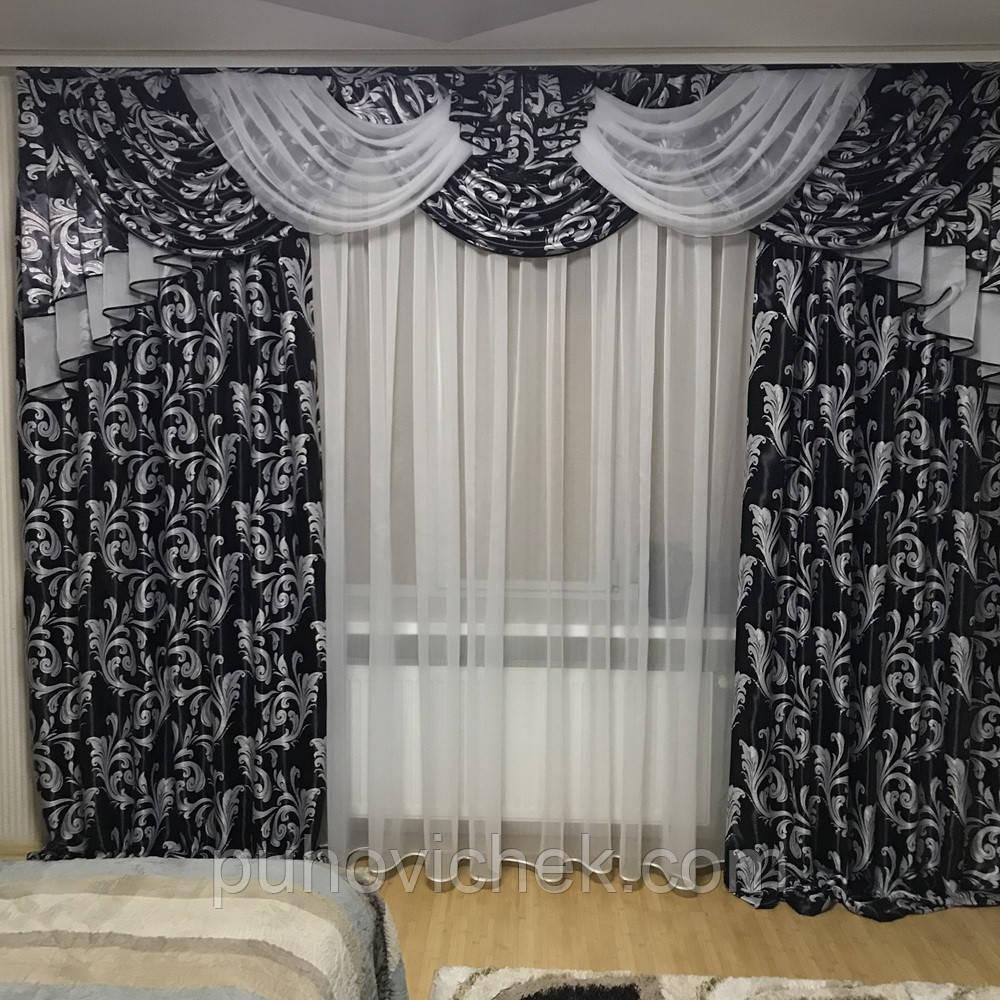 Богатые шторы с ламбрекеном в комплекте