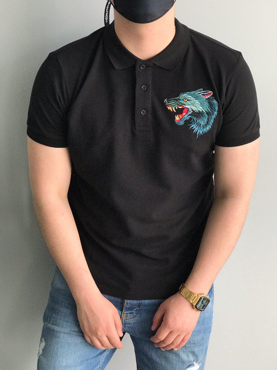 Мужская футболка поло черная Gucci Wolf (реплика)