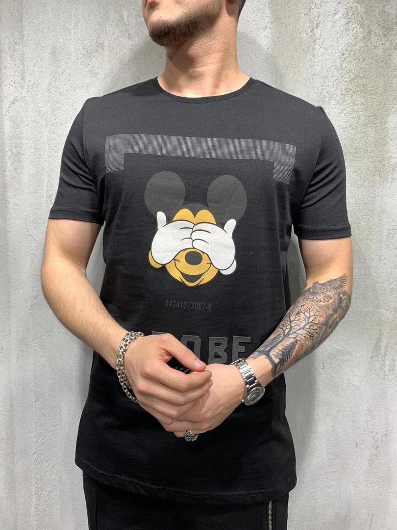 Мужская футболка с Микки Маус (черная) - Турция