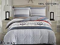 Сатиновое постельное белье евро ELWAY 5031 «Абстракция»