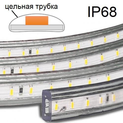 На фото изображена светодиодная ЛЕД LED-лента с уровнем пылевлагозащиты IP66, IP67, IP68