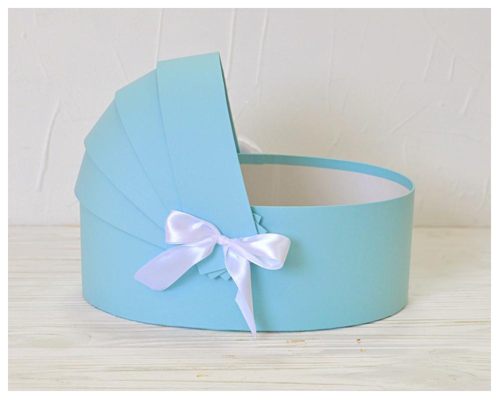 Коробка люлька для квітів 27*19*10 см блакитна