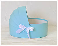 Коробка люлька для цветов 27*19*10 см голубая, фото 1