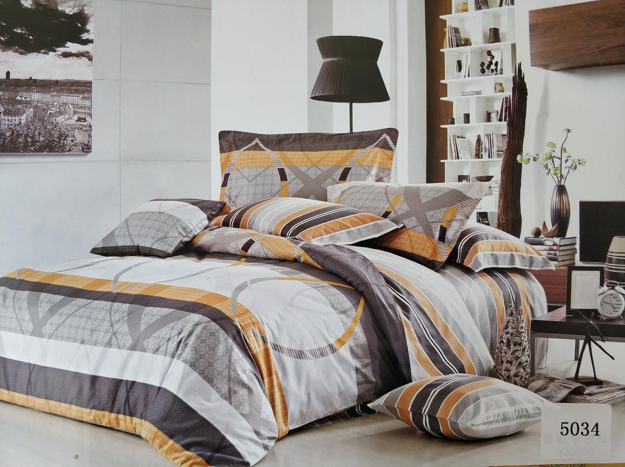 Сатиновое постельное белье евро ELWAY 5034 «Абстракция»