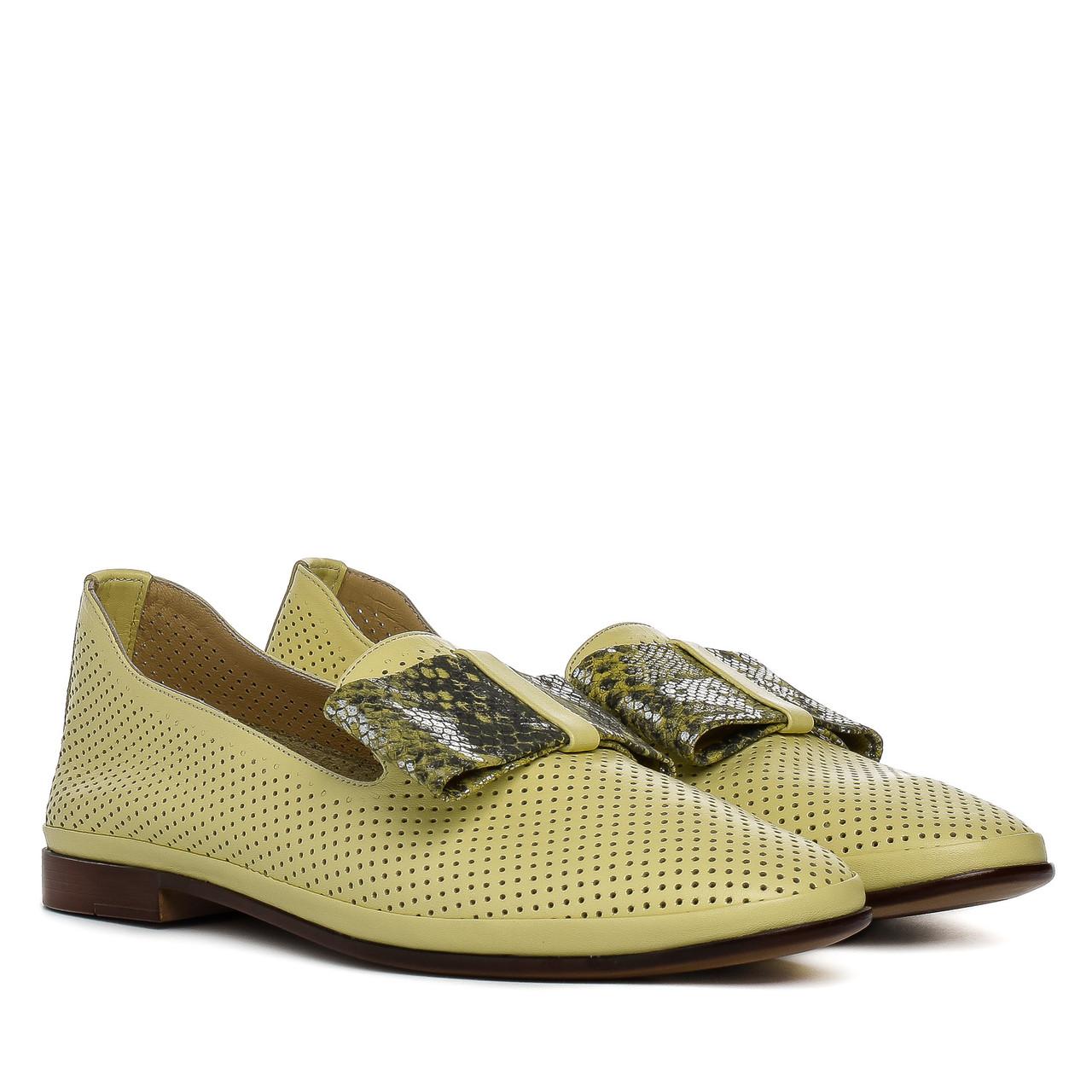 Туфли женские AQUAMARIN (натуральные, желтого цвета, с модным бантом)