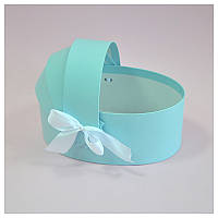 Коробка люлька для цветов 20*13*8 см голубая, фото 1