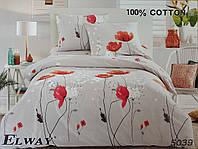 Сатиновое постельное белье евро ELWAY 5039 «Маки»