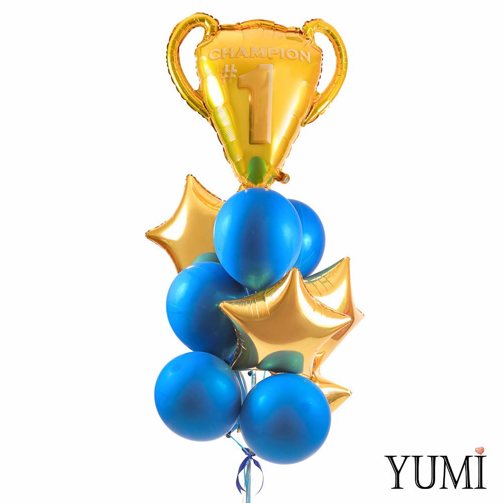 Связка: Золотой кубок чемпионов, 4 звезды золото и 8 синих зеркальных шаров