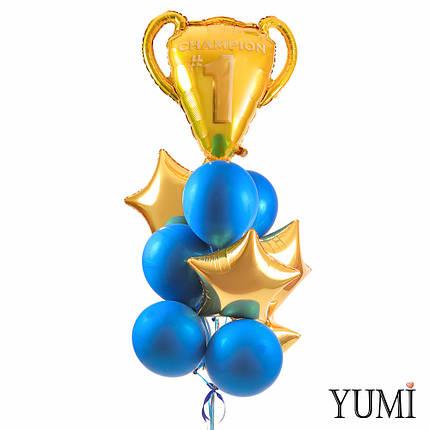 Связка: Золотой кубок чемпионов, 4 звезды золото и 8 синих зеркальных шаров, фото 2