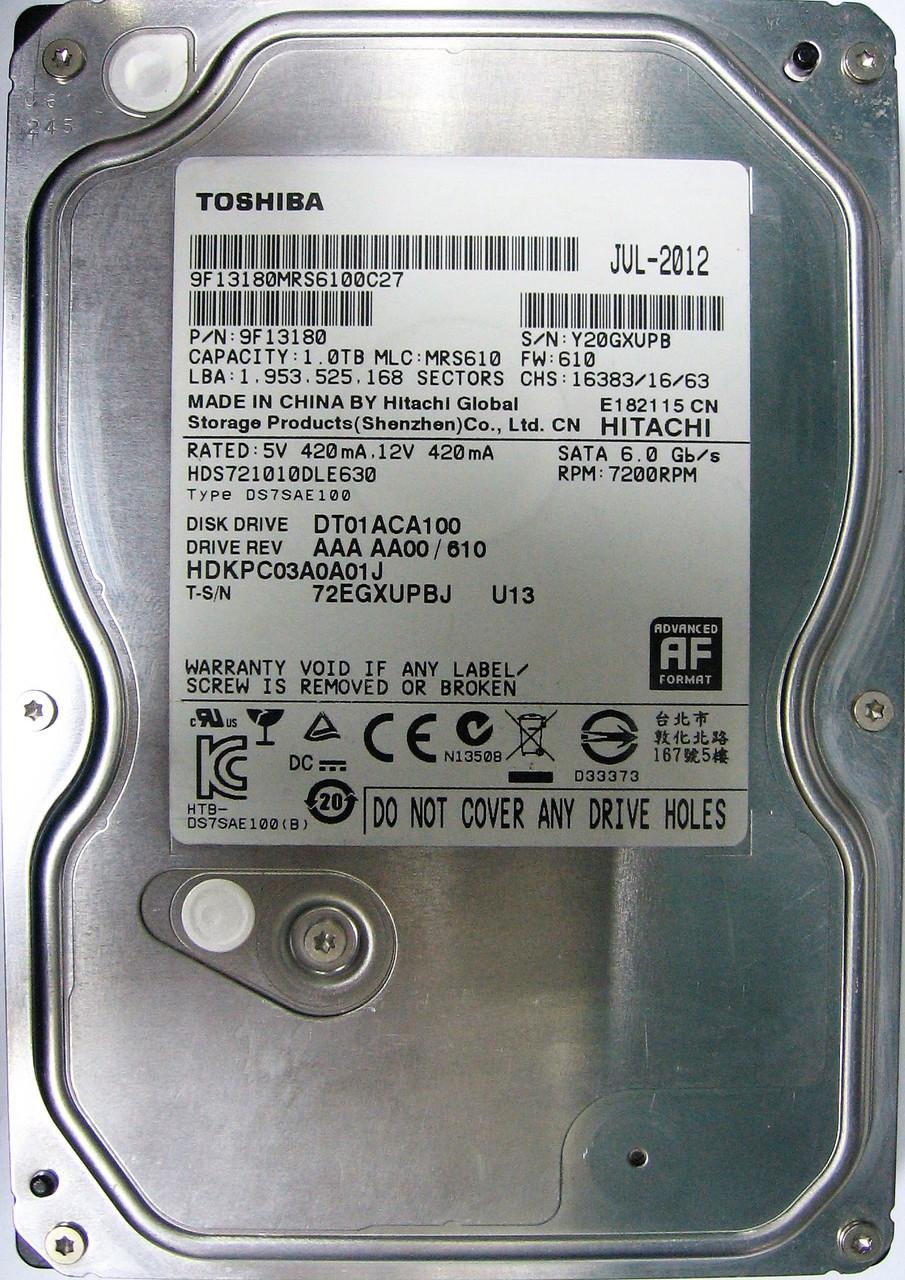 HDD 1TB 7200rpm 32MB SATA III 3.5 Toshiba DT01ACA100 Y20GXUPB