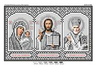 Схема для вышивки бисером икона типтих иконостас (серебро)