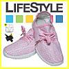 Стильные кроссовки Adidas Yeezy Boost 350 (35-41 размер) + 2 Подарка Розовый (36-42 р.) - Фото