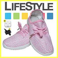 Стильные кроссовки Adidas Yeezy Boost 350 (35-41 размер) + 2 Подарка Розовый (36-42 р.)