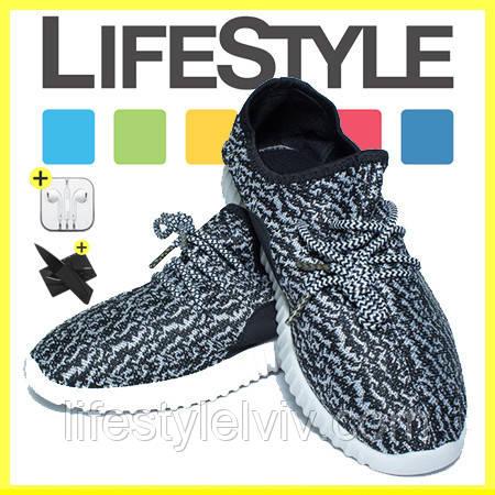 Стильные кроссовки Adidas Yeezy Boost 350 (35-41 размер) + 2 Подарка Черно-белый (36-37 р.)