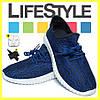 Стильные кроссовки Adidas Yeezy Boost 350 (35-41 размер) + 2 Подарка Синий (36-41 р.) - Фото