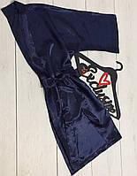Эксклюзивный атласный халат темно-синий АТ-1079