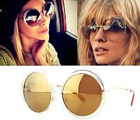 Модные женские солнцезащитные очки, хит сезона, круглая форма, зеркальные линзы желтого цвета