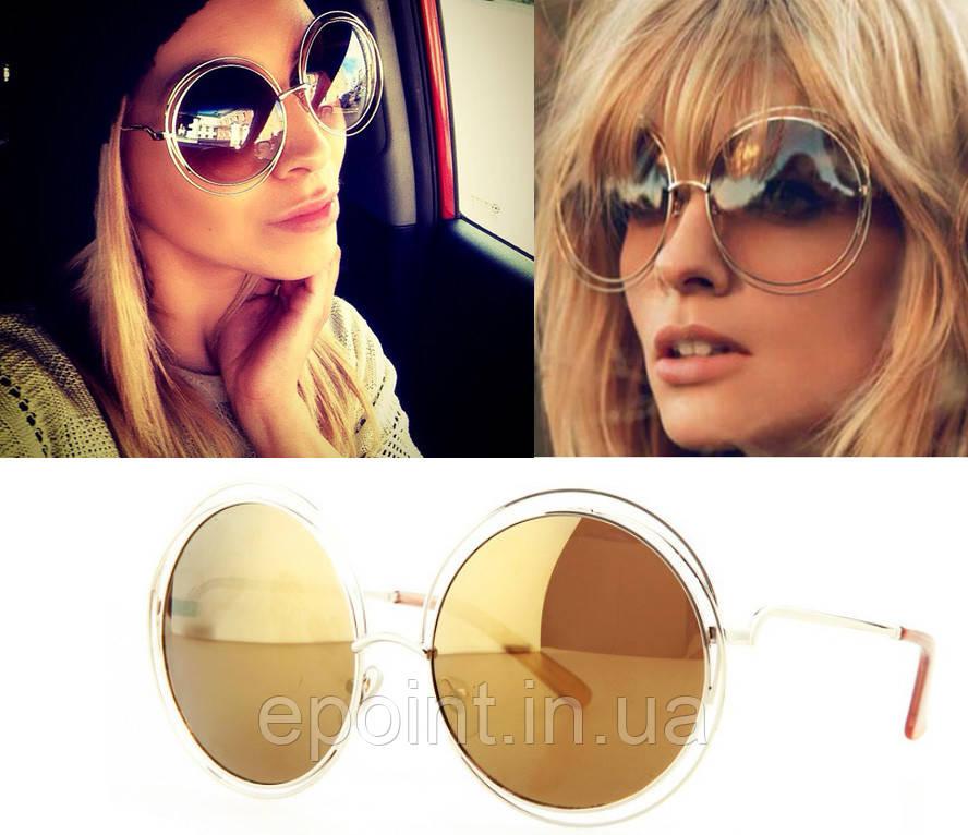 Модные женские солнцезащитные очки, хит сезона, круглая форма, зеркальные  линзы желтого цвета - c0943346863