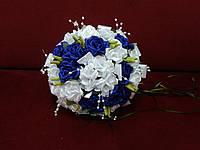 Свадебный букет-дублер белый с синим