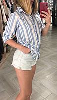 Рубашка женская с бусинами. серая полоска