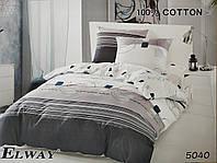 Сатиновое постельное белье евро ELWAY 5040 «Абстракция»
