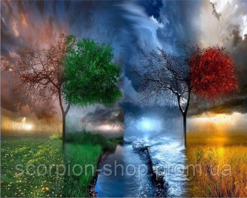 Картина по номерам «Четыре сезона дерево» (40*50 см)