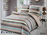 Сатиновое постельное белье евро ELWAY 5042 «Абстракция»
