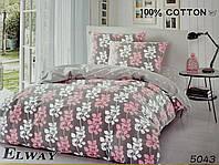 Сатиновое постельное белье евро ELWAY 5043 «Цветочный орнамент»