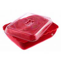 Салатник с крышкой, красный, поликарбонат