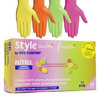 Цветные однорaзовые нитриловые перчатки Style (96 шт) (желтый, салатовый, оранжевый, розовый)