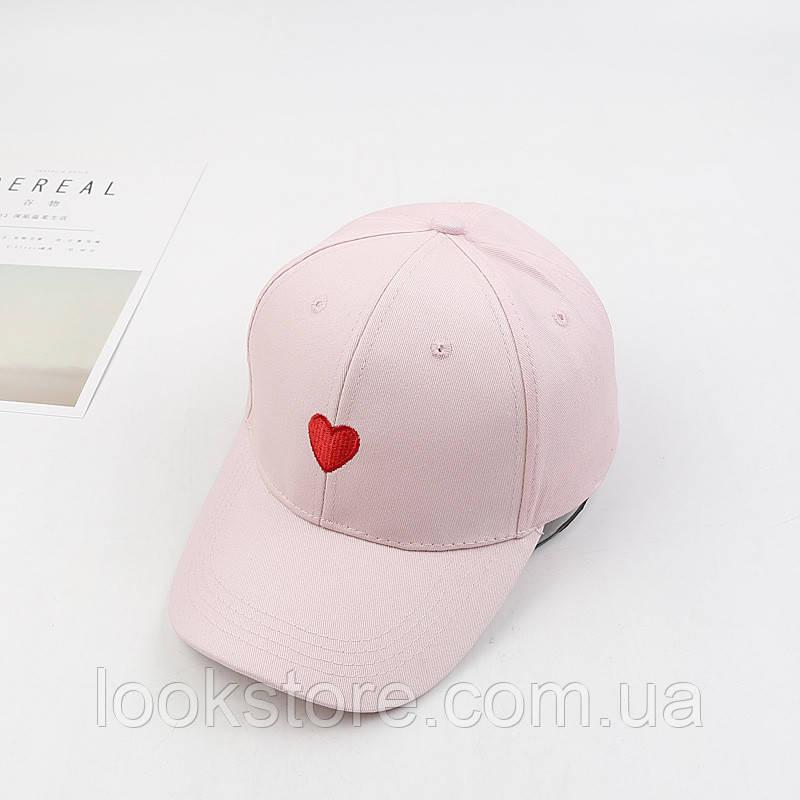 Женская летняя кепка с Сердцем розовая