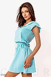 Короткое спортивное платье с капюшоном голубое, фото 2