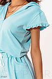 Короткое спортивное платье с капюшоном голубое, фото 3