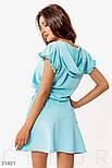 Короткое спортивное платье с капюшоном голубое, фото 4