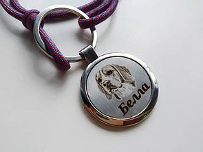 Адресник с гравировкой по фото кулон для собак и кошек жетон Стандарт диаметр 35мм