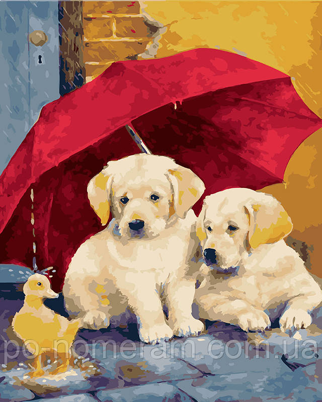 Картина за номерами Цуценята під парасолькою (BK-GX28450) 40 х 50 см (Без коробки)