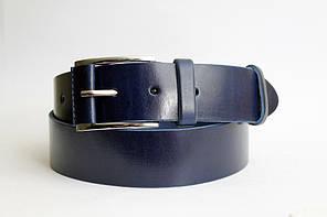 Стильний шкіряний  ремінь  45 мм, синій  гладкий