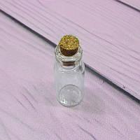 Миниатюрная стеклянная бутылочка с пробкой, 16х34мм