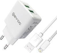 """Cетевое зарядное устройство """"Smart Charger"""" F17C LED Micro 2 USB 2.1A"""