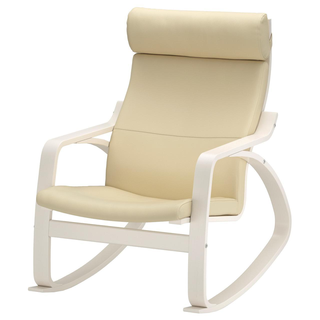 IKEA POANG Кресло-качалка, белый, глянцевый крем  (291.632.61)
