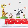 Інтер'єрна вінілова наклейка в дитячу Жираф і зебра (ПВХ наклейки стікери декор дитячі наклейки тварини)