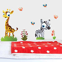 Интерьерная виниловая наклейка в детскую Жираф и зебра (детские наклейки животные)