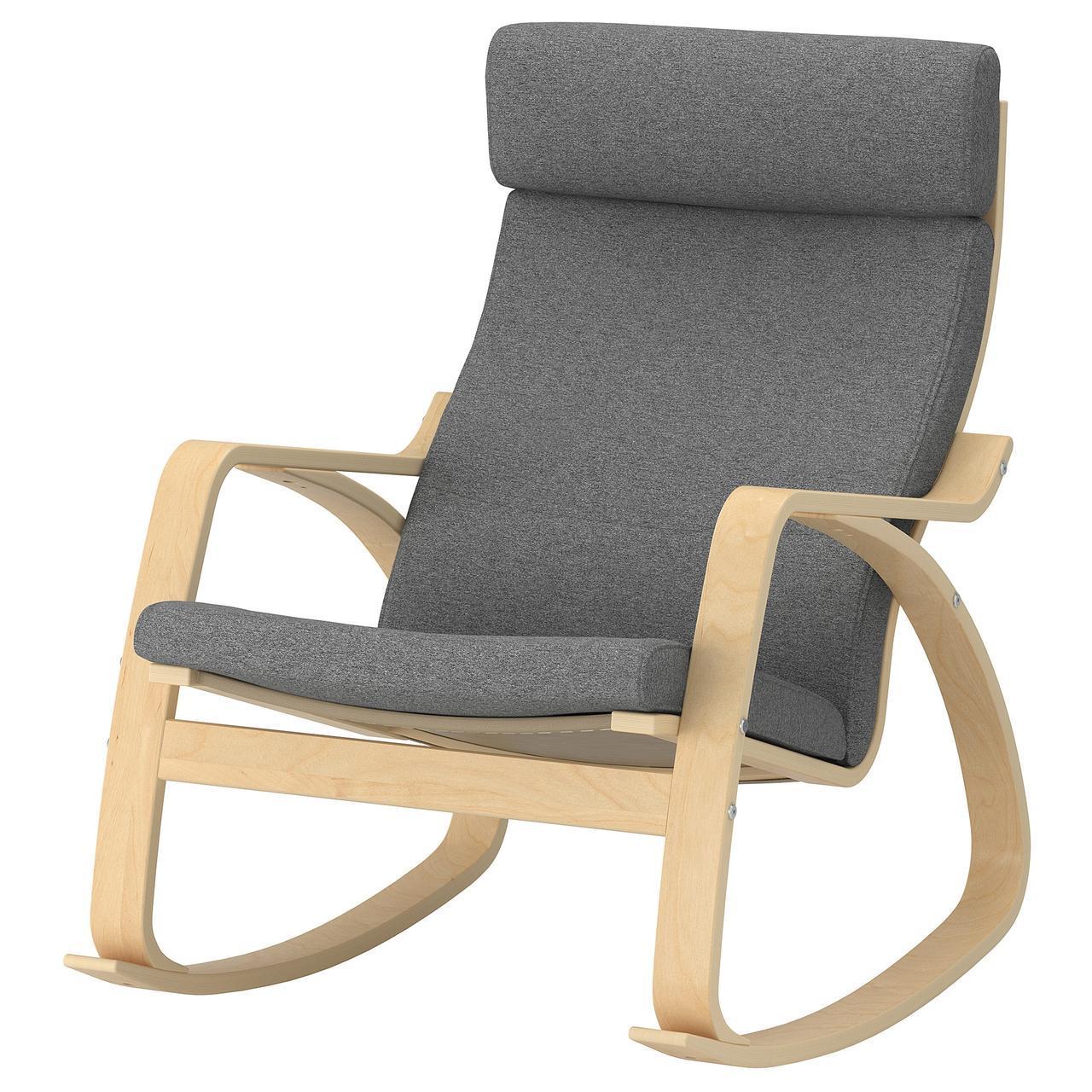 IKEA POANG Кресло-качалка, березовый шпон, лизированы серый  (292.444.13)