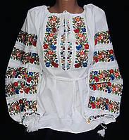 Национальная вышиванка Веселка на домотканом полотне